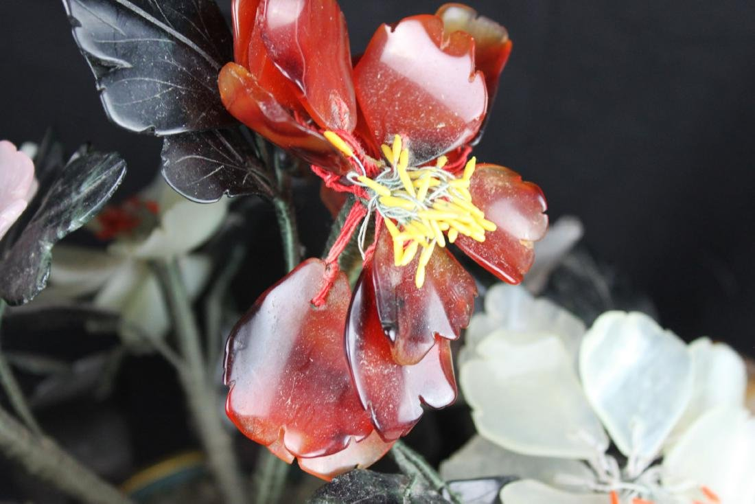 CHINESE ROSE QUARTZ TREE IN CLOISONNE PLANTER - 3