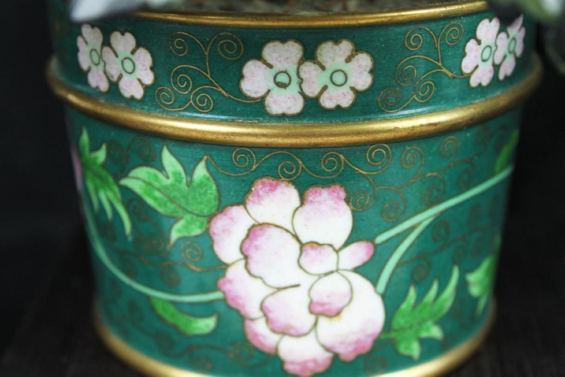 CHINESE ROSE QUARTZ TREE IN CLOISONNE PLANTER - 6