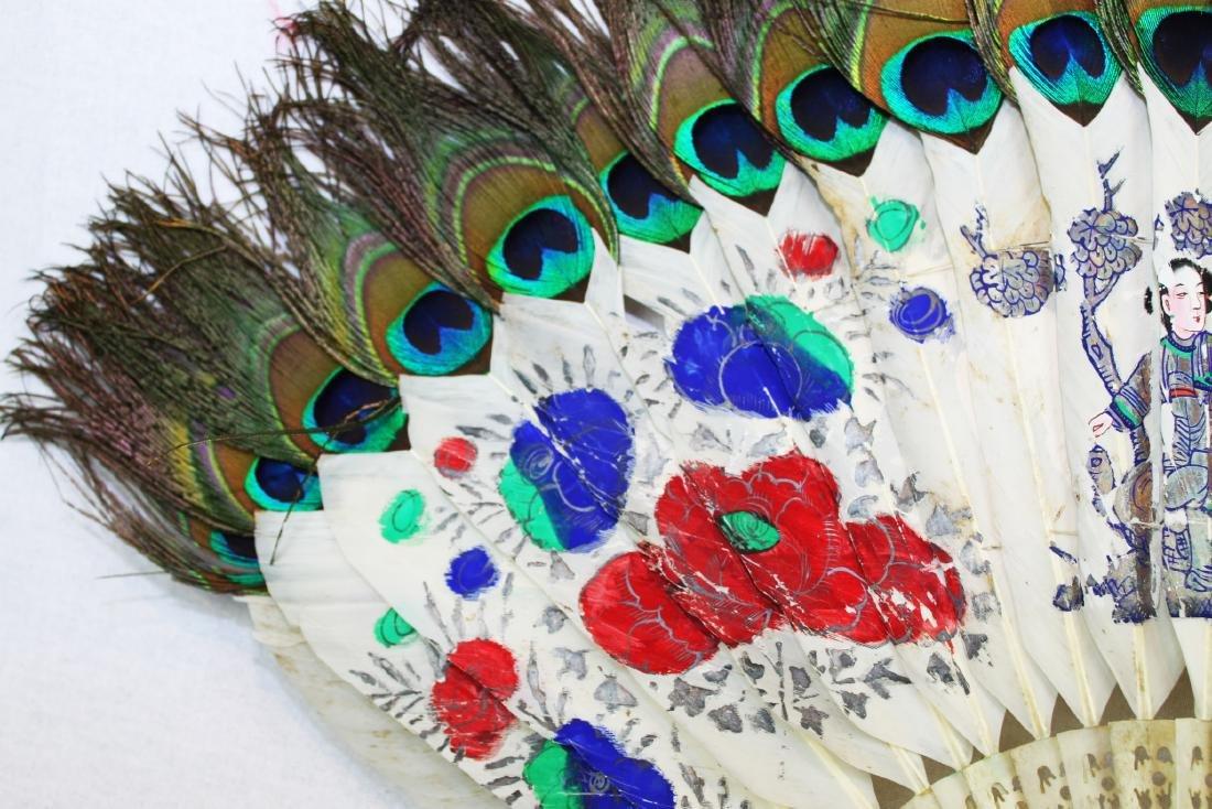 Antique Peacock Folding Fan w/Tangka Painting - 2