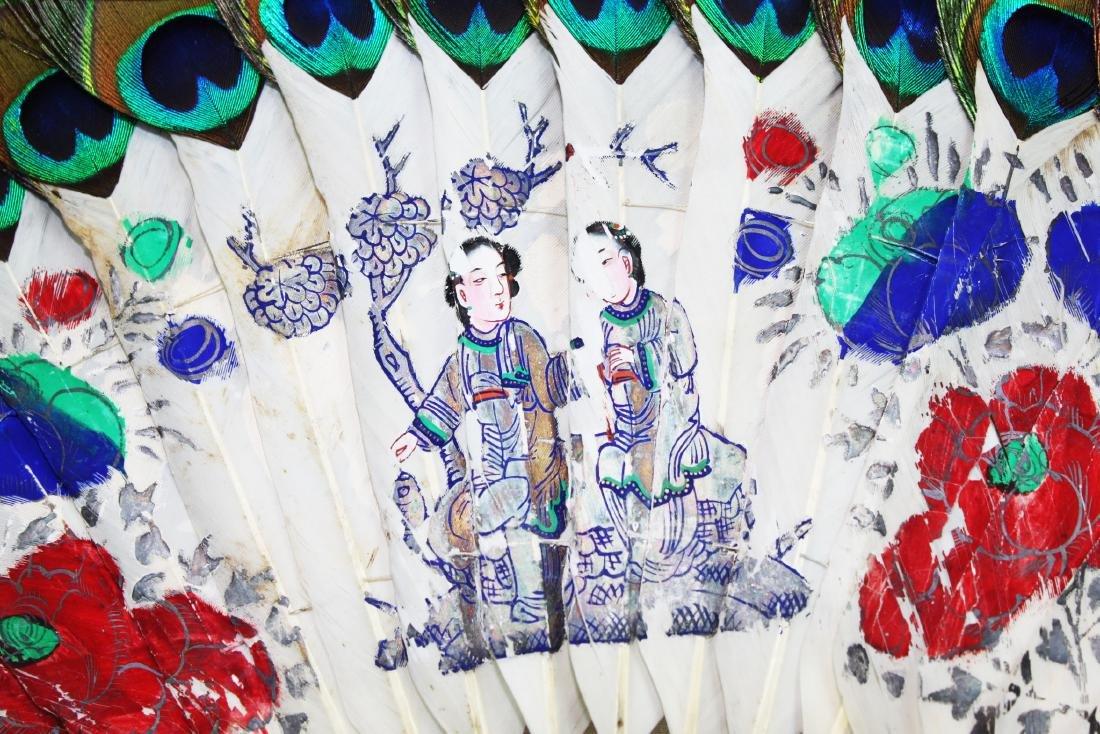 Antique Peacock Folding Fan w/Tangka Painting - 3