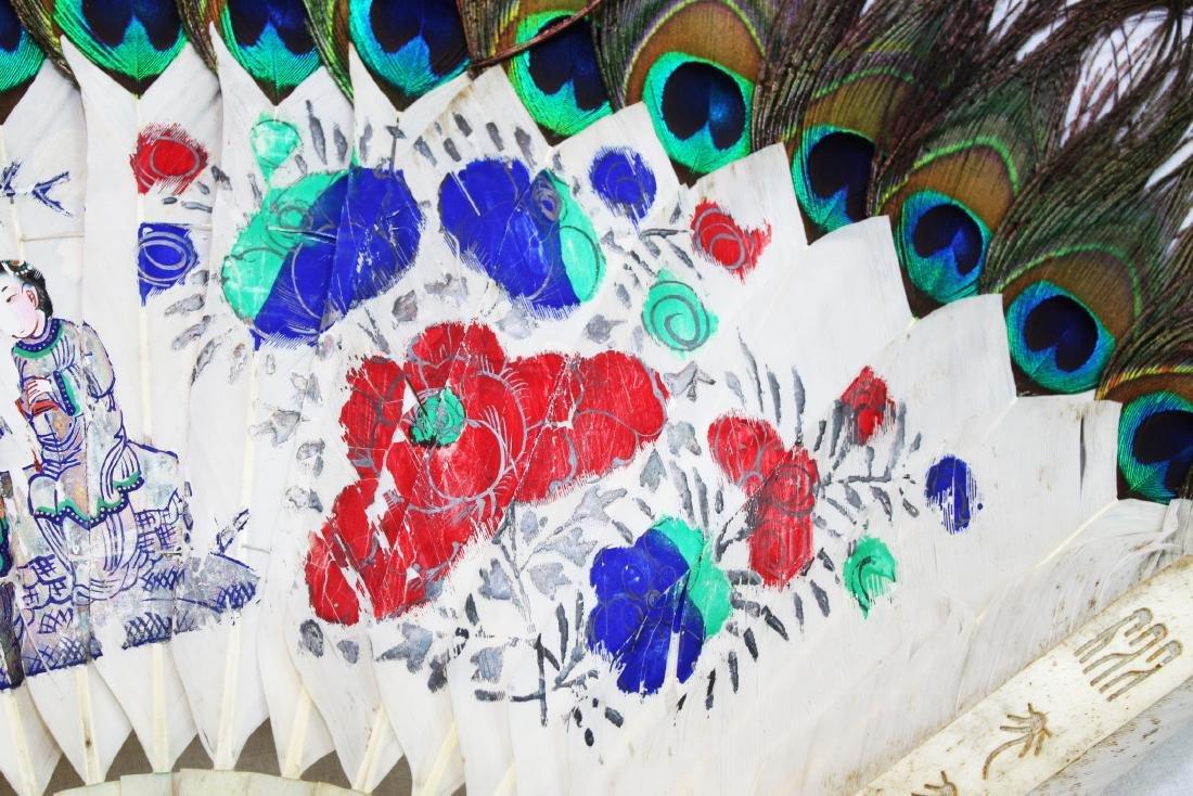 Antique Peacock Folding Fan w/Tangka Painting - 4