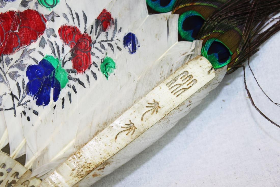 Antique Peacock Folding Fan w/Tangka Painting - 5