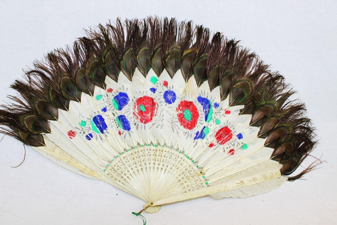 Antique Peacock Folding Fan w/Tangka Painting - 7
