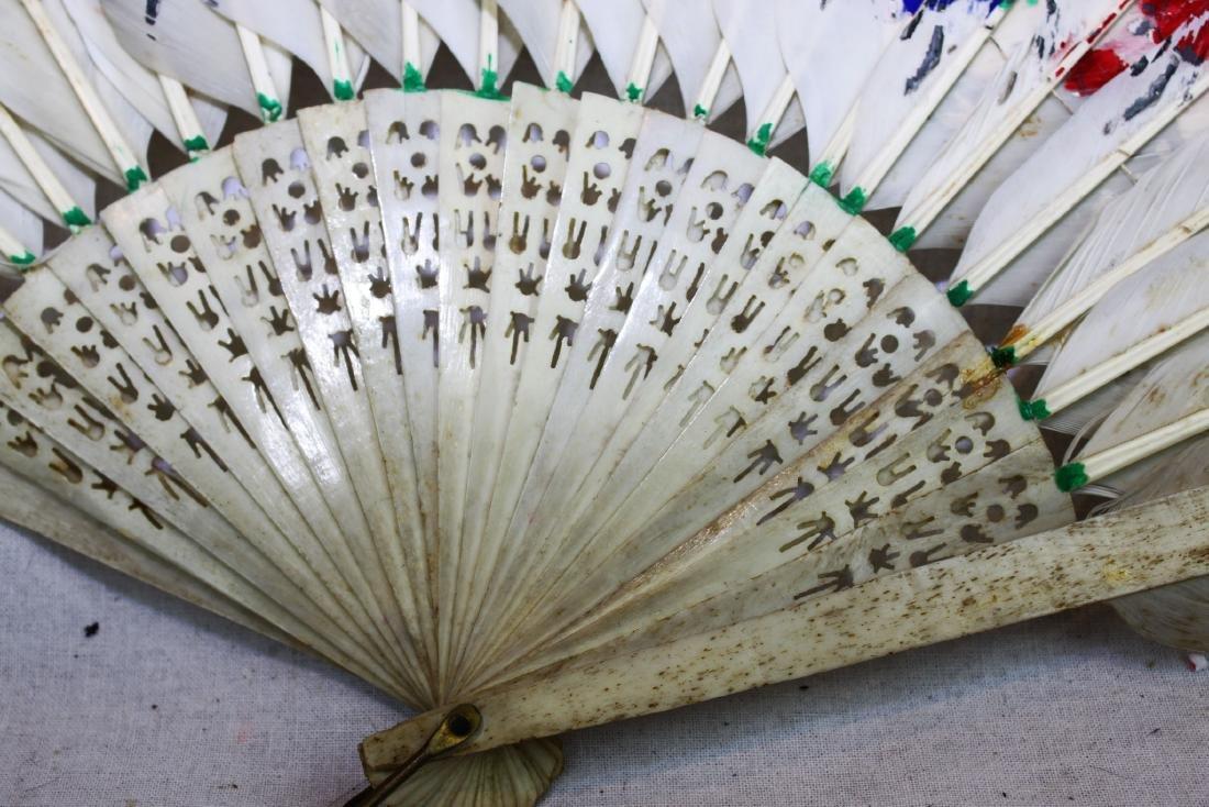 Antique Peacock Folding Fan w/Tangka Painting - 9