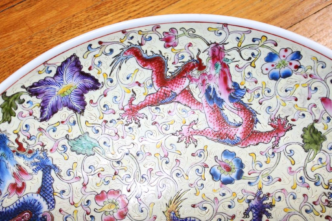 Antique Chinese Dragon Painting Porcelain Plate - 2