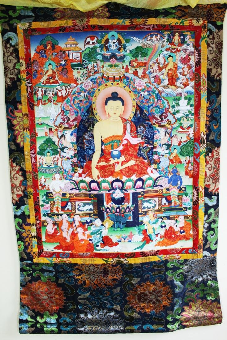 Antique Tibet Tangka Silk Painting - 2