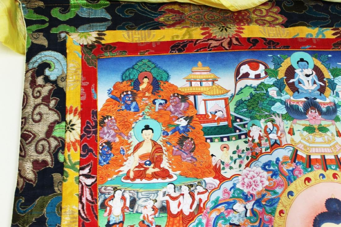 Antique Tibet Tangka Silk Painting - 3