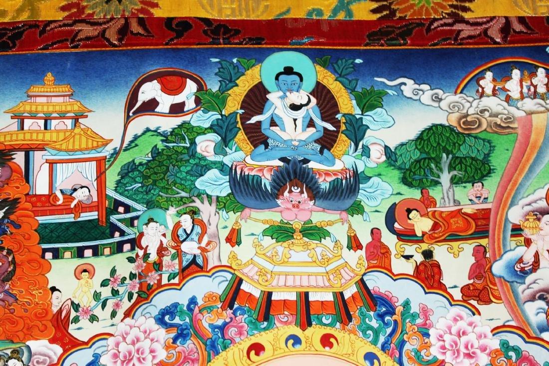 Antique Tibet Tangka Silk Painting - 4