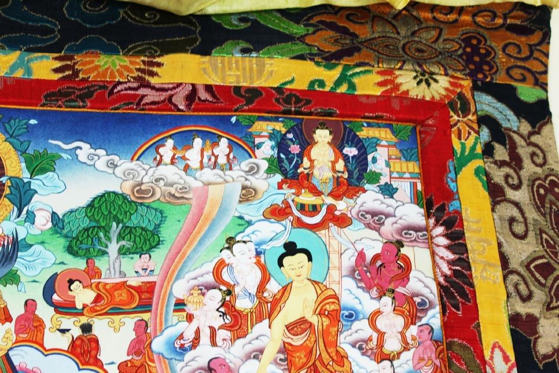 Antique Tibet Tangka Silk Painting - 5