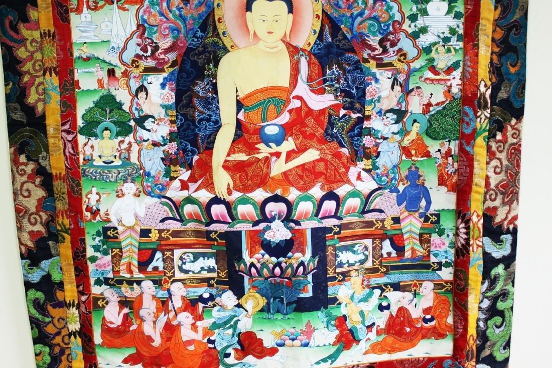 Antique Tibet Tangka Silk Painting - 8