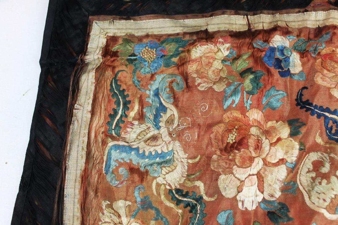 Two Antique Chinese Hand Made silks - 4