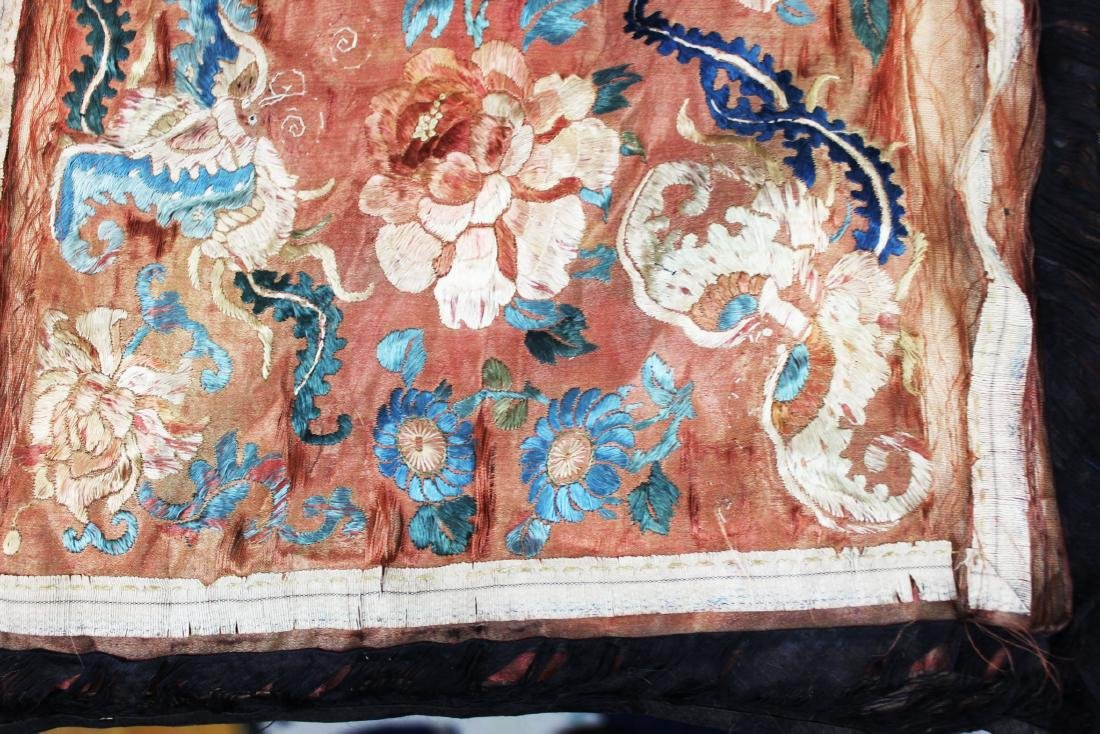 Two Antique Chinese Hand Made silks - 6