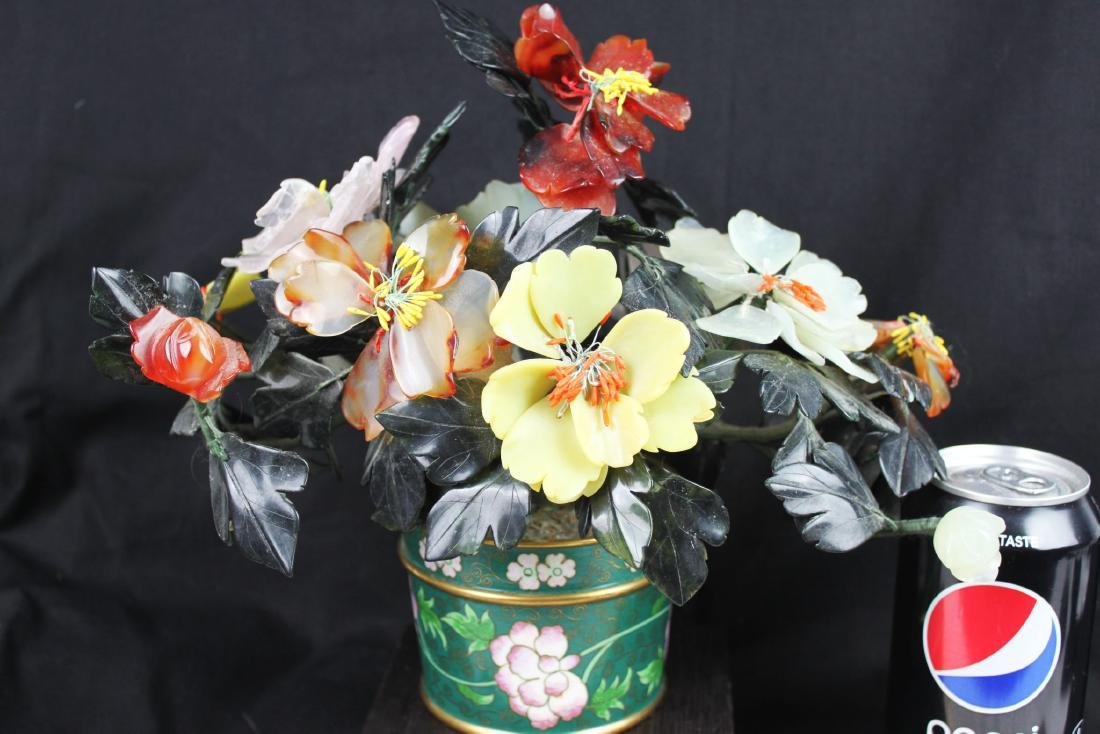 CHINESE ROSE QUARTZ TREE IN CLOISONNE PLANTER