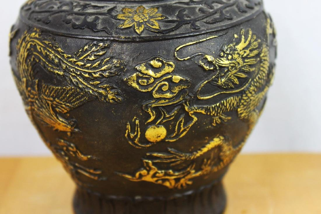 Antique Chinese Bronze Gold Gild Vase - 10
