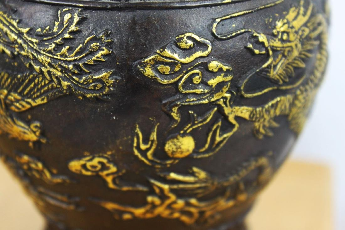 Antique Chinese Bronze Gold Gild Vase - 5