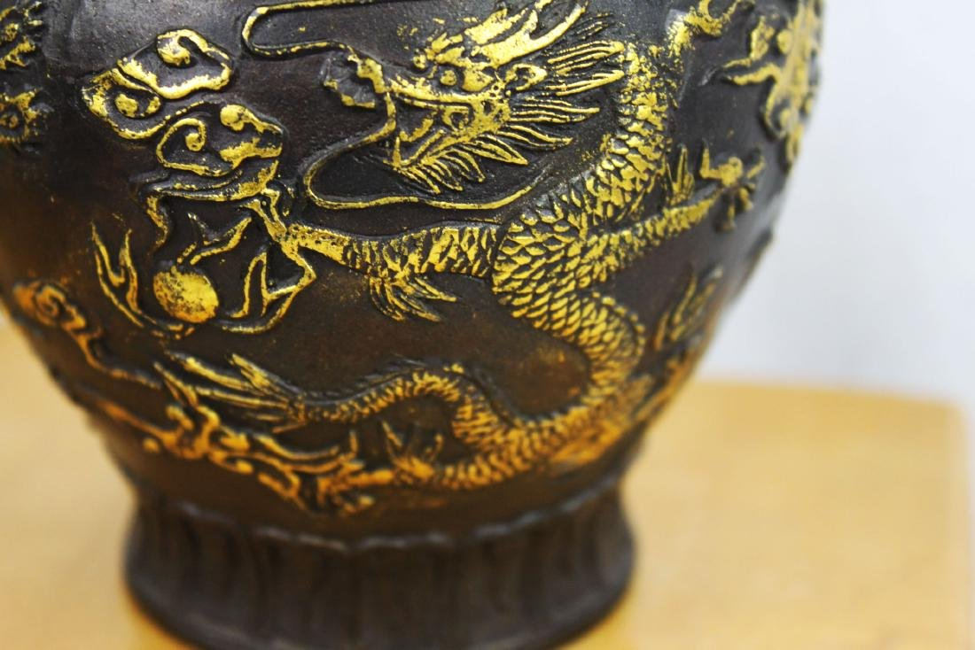 Antique Chinese Bronze Gold Gild Vase - 6