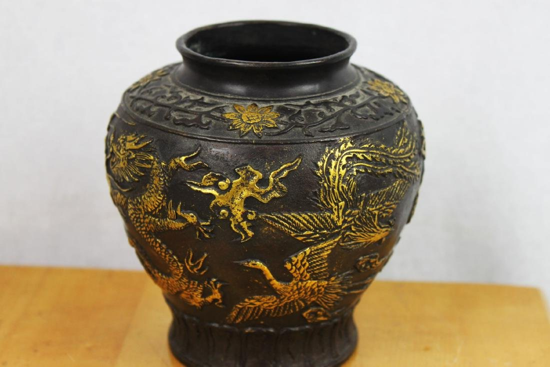 Antique Chinese Bronze Gold Gild Vase - 8