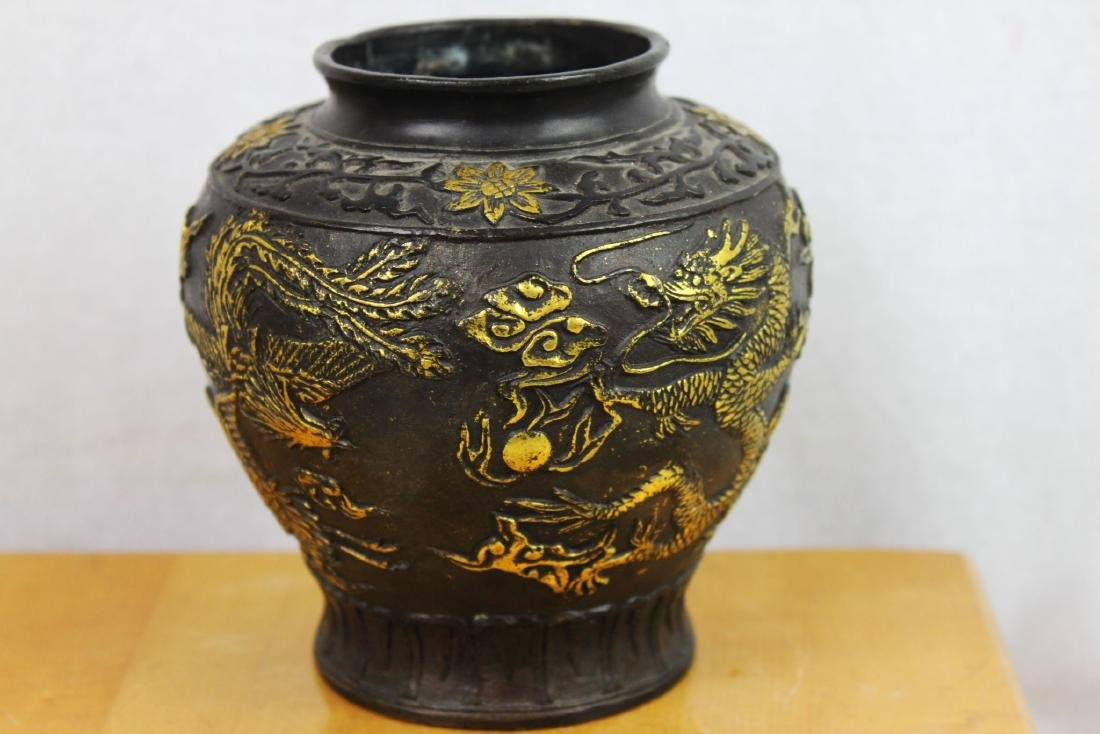 Antique Chinese Bronze Gold Gild Vase - 9