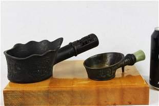 Antique Chinese Bronze Iron w Jade handle