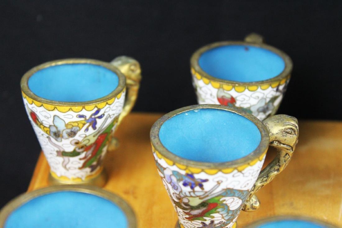 Antique Chinese Cloisonne Tea Set - 10