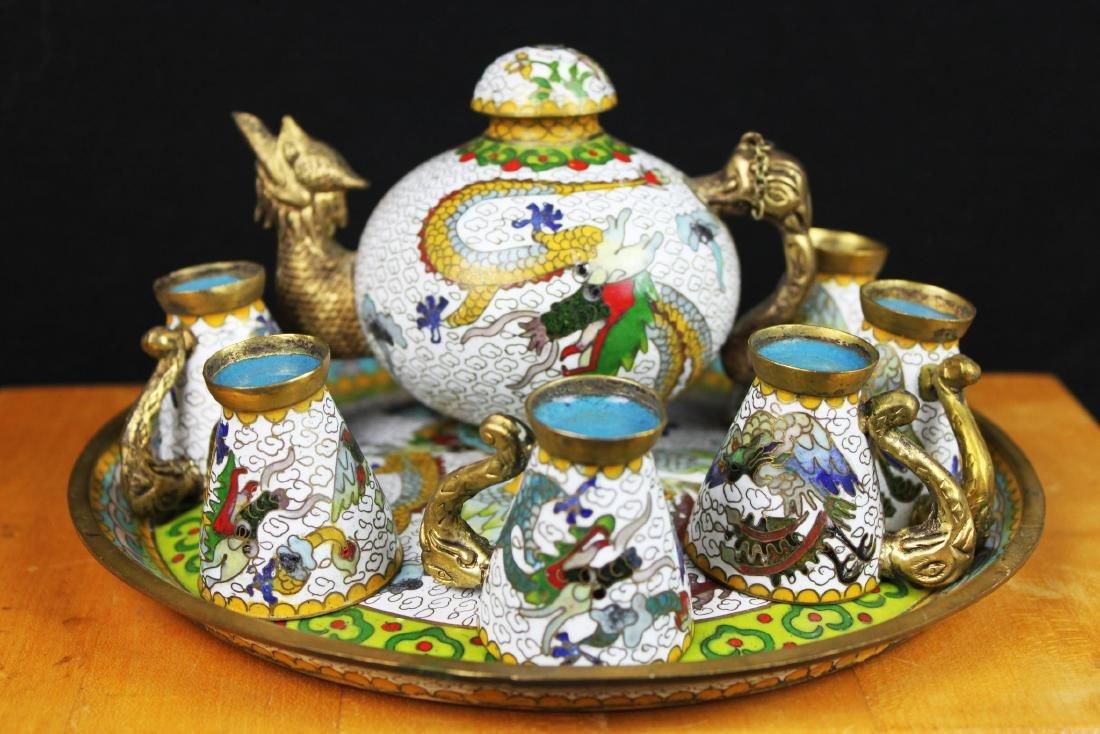 Antique Chinese Cloisonne Tea Set