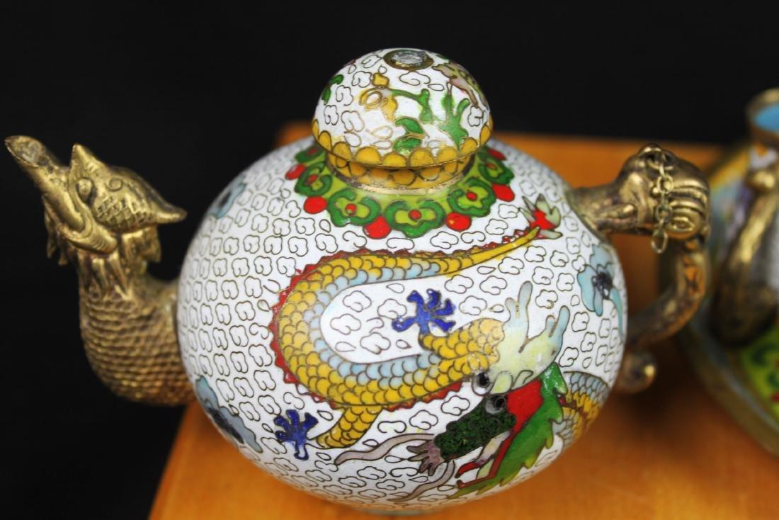 Antique Chinese Cloisonne Tea Set - 2