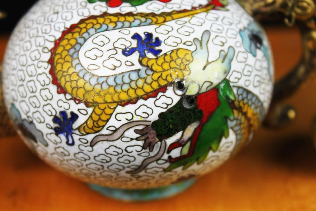 Antique Chinese Cloisonne Tea Set - 6