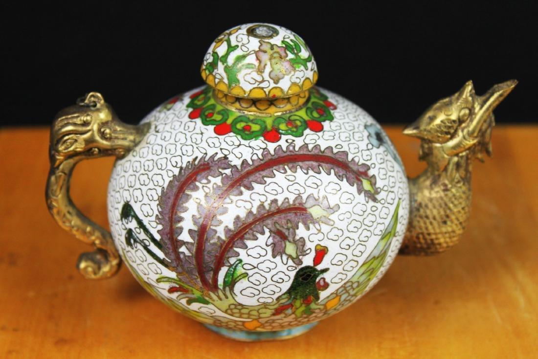 Antique Chinese Cloisonne Tea Set - 7