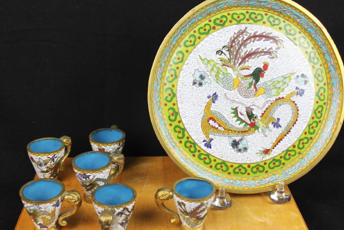 Antique Chinese Cloisonne Tea Set - 9