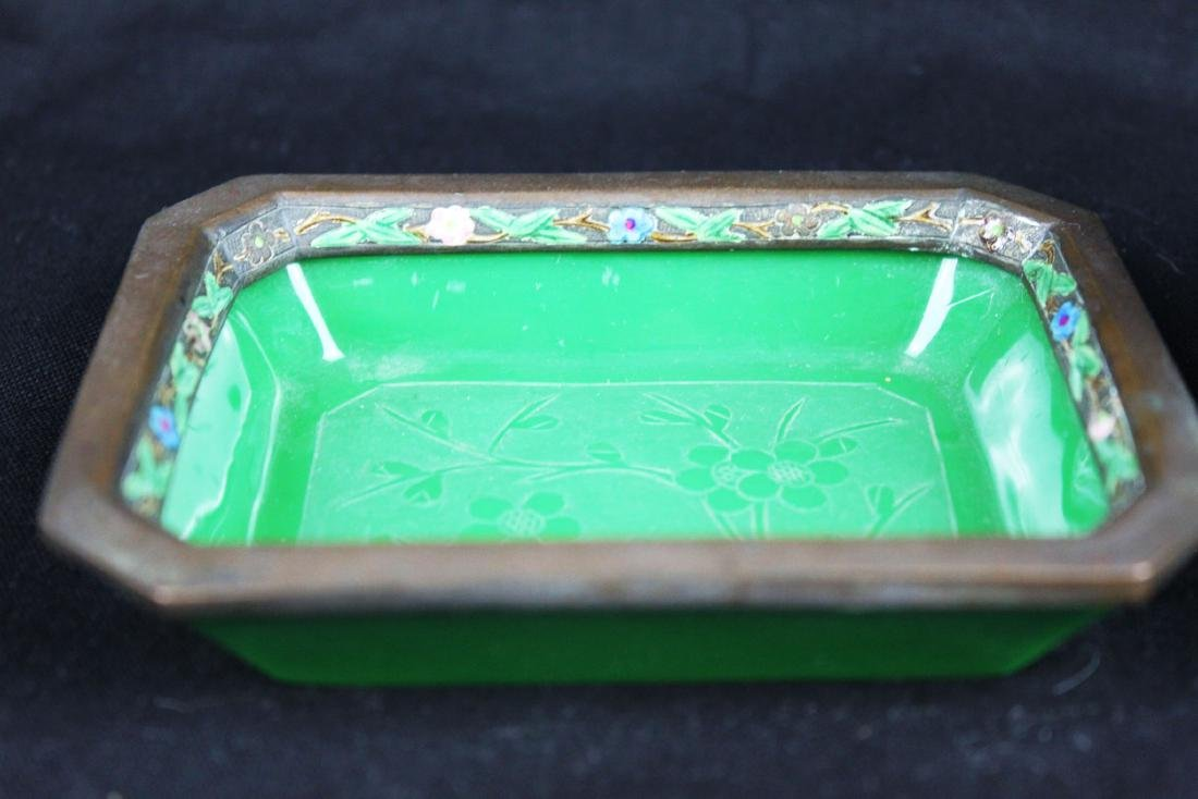 Two Hand carved Jade in Cloisonne Planter - 2