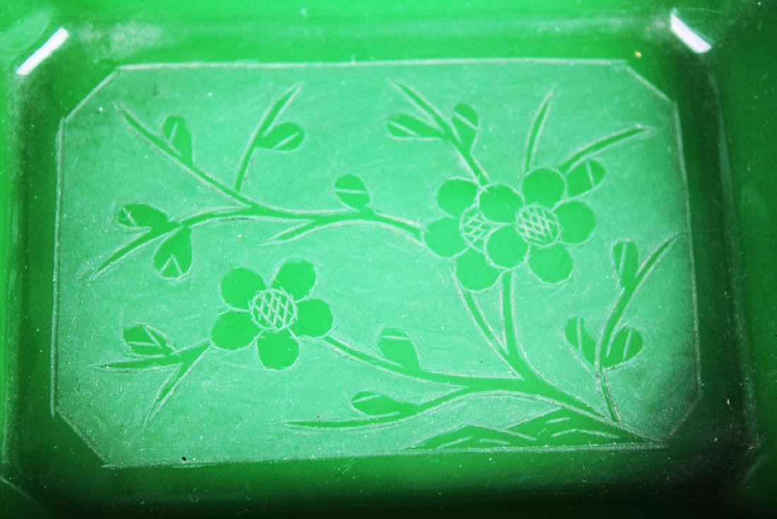 Two Hand carved Jade in Cloisonne Planter - 4