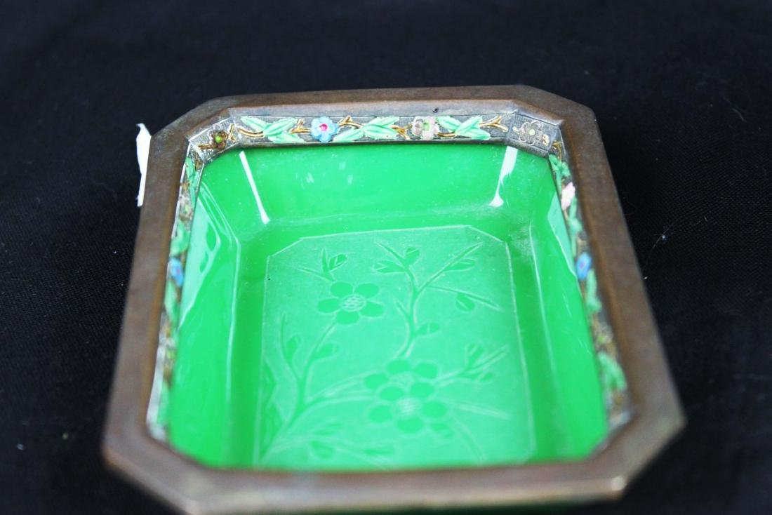 Two Hand carved Jade in Cloisonne Planter - 6