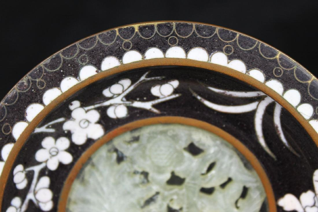 Two Hand carved Jade in Cloisonne Planter - 8