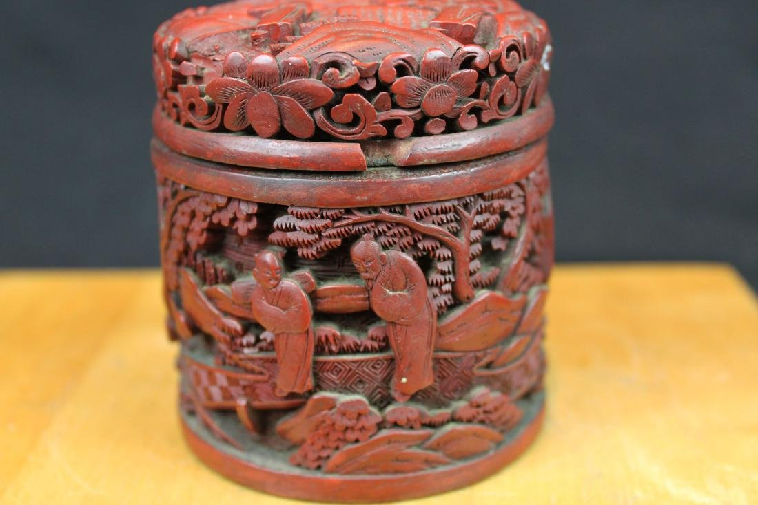 Hand Carved Wood Box - 3