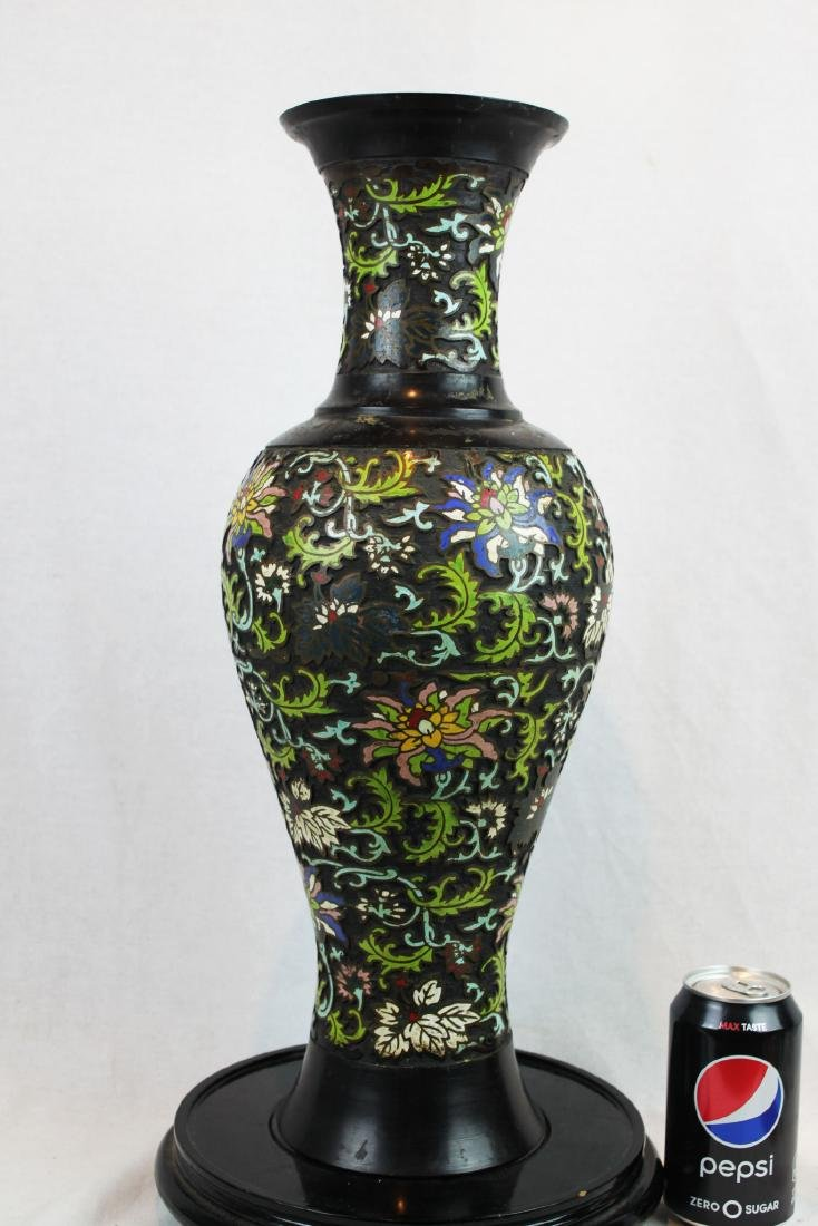 Antique Chinese Bronze Vase w/ Hand Carved painting