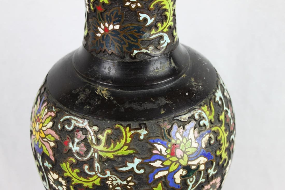 Antique Chinese Bronze Vase w/ Hand Carved painting - 4