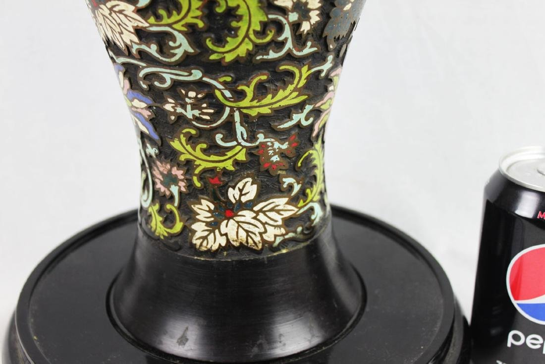 Antique Chinese Bronze Vase w/ Hand Carved painting - 6