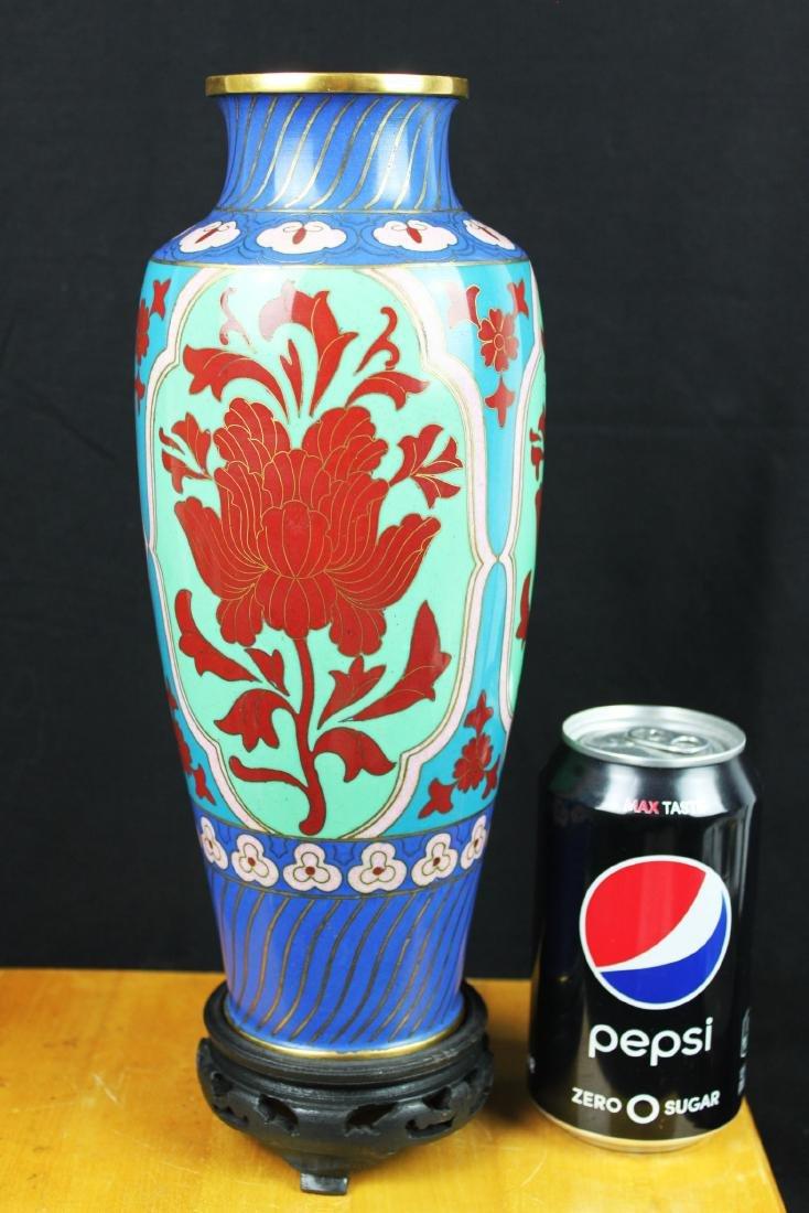 Antique Asian Cloisonne Vase w/wood stand