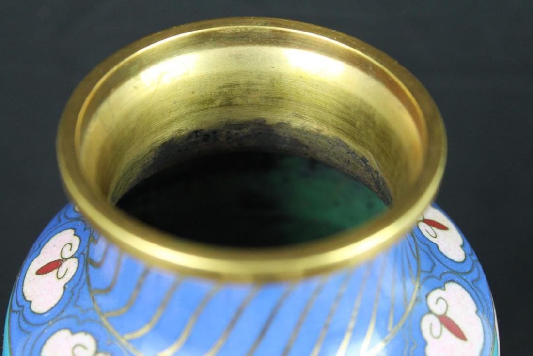 Antique Asian Cloisonne Vase w/wood stand - 2