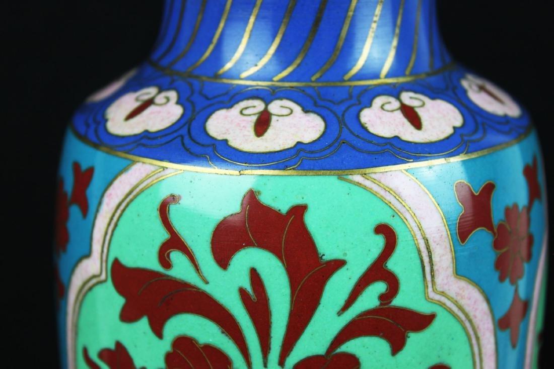 Antique Asian Cloisonne Vase w/wood stand - 3