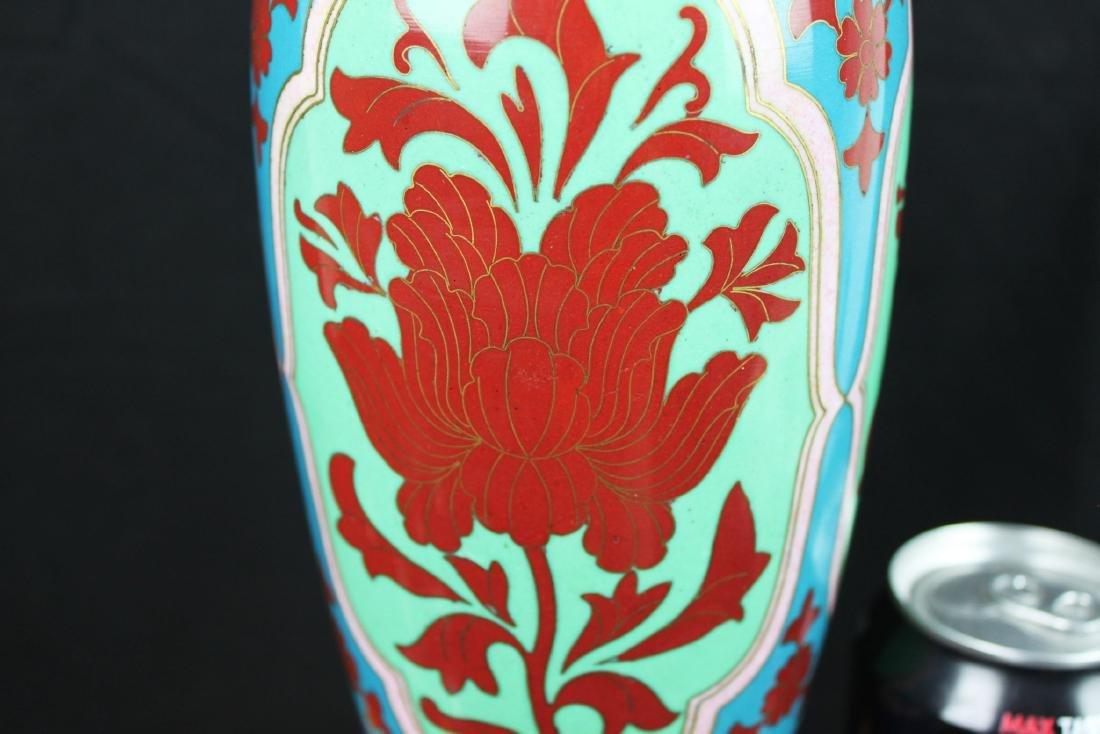 Antique Asian Cloisonne Vase w/wood stand - 4
