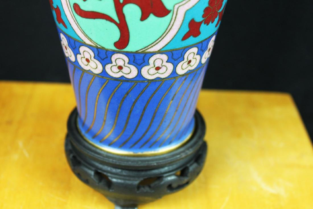 Antique Asian Cloisonne Vase w/wood stand - 5