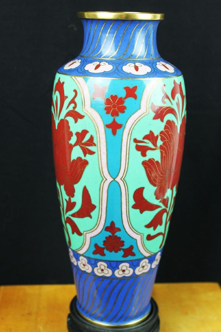 Antique Asian Cloisonne Vase w/wood stand - 6