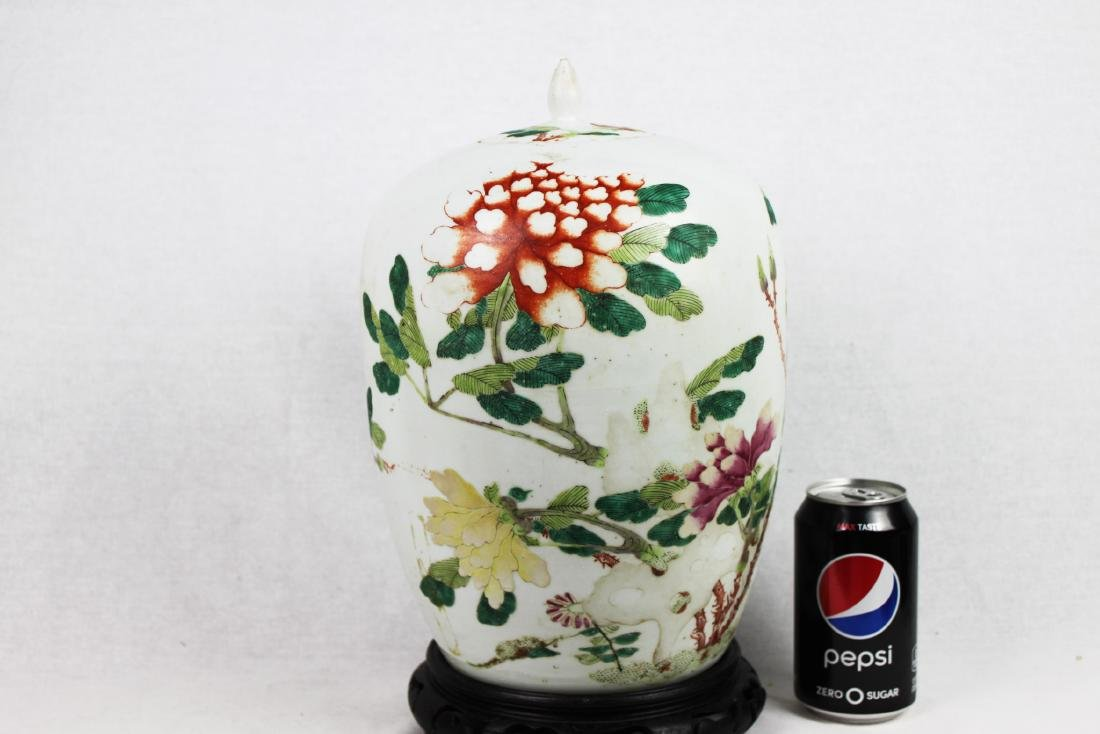 Antique Chinese Wucai Porcelain Jar with Wood Stand