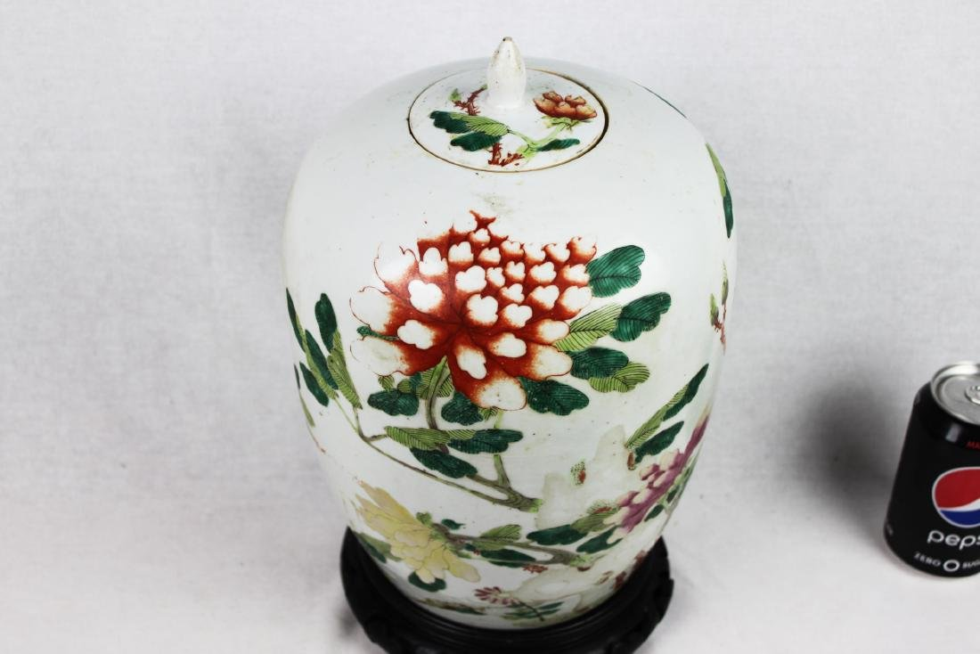 Antique Chinese Wucai Porcelain Jar with Wood Stand - 2