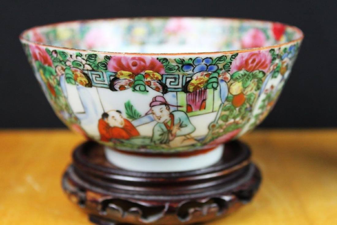 Antique Chinese Familie Rose Porcelain Bowl w/stand