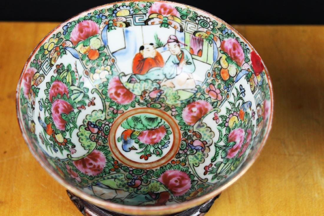 Antique Chinese Familie Rose Porcelain Bowl w/stand - 2