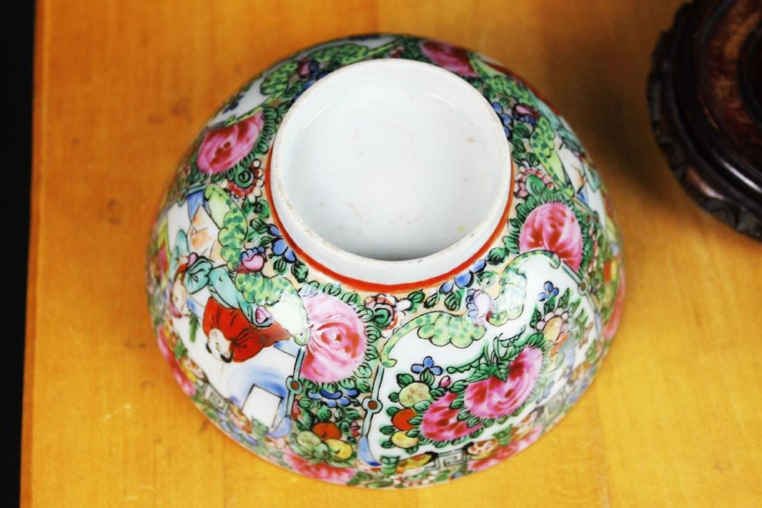Antique Chinese Familie Rose Porcelain Bowl w/stand - 3