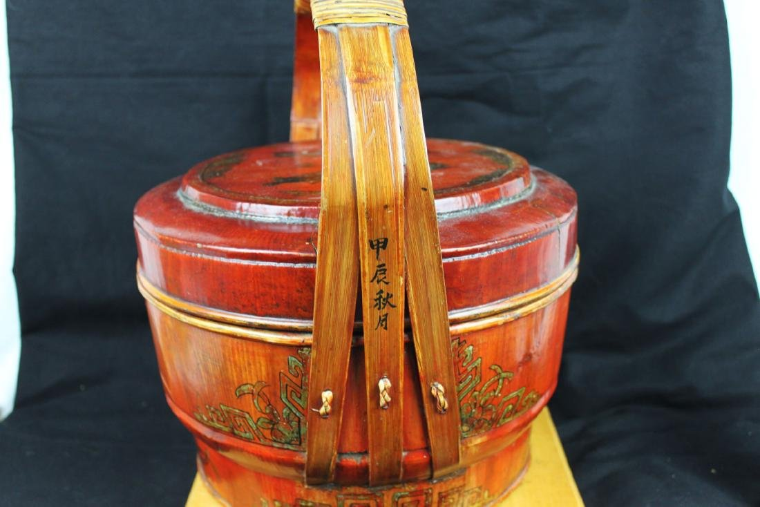 Antique Chinese Wood Basket - 8
