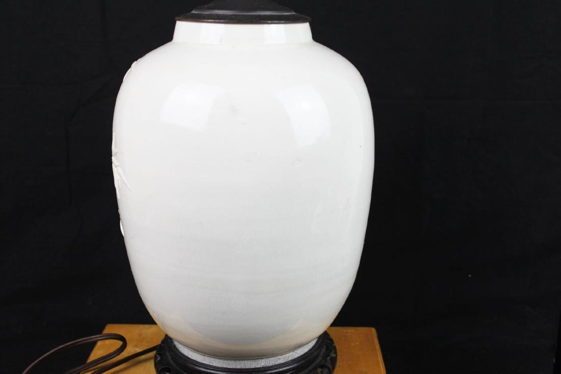 Antique Chinese White Porcelain Lamp - 5